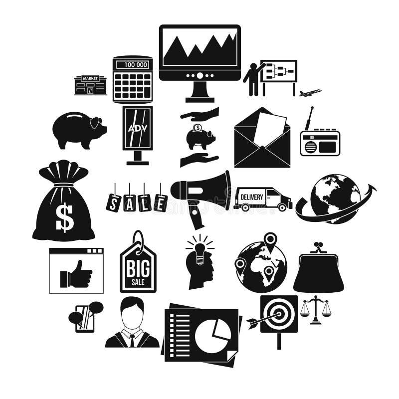 Geplaatste reclamespotspictogrammen, eenvoudige stijl stock illustratie