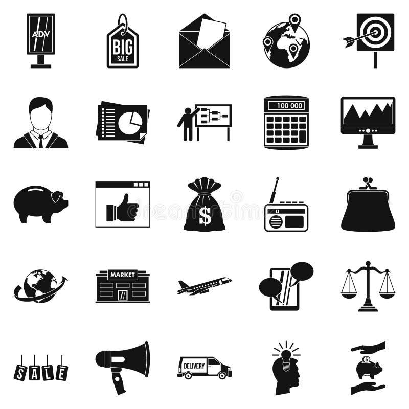 Geplaatste reclamespotspictogrammen, eenvoudige stijl royalty-vrije illustratie