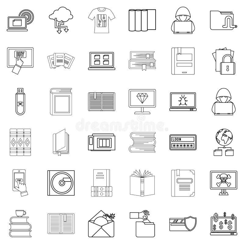 Geplaatste referentie de pictogrammen, schetsen stijl stock illustratie