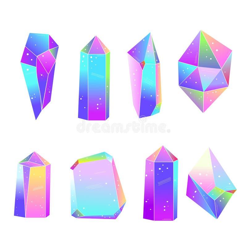Geplaatste regenboog multicolored kristallen Vector illustratie stock illustratie