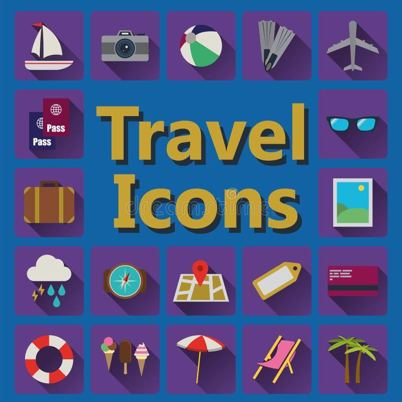 Geplaatste reis vlakke pictogrammen stock foto's