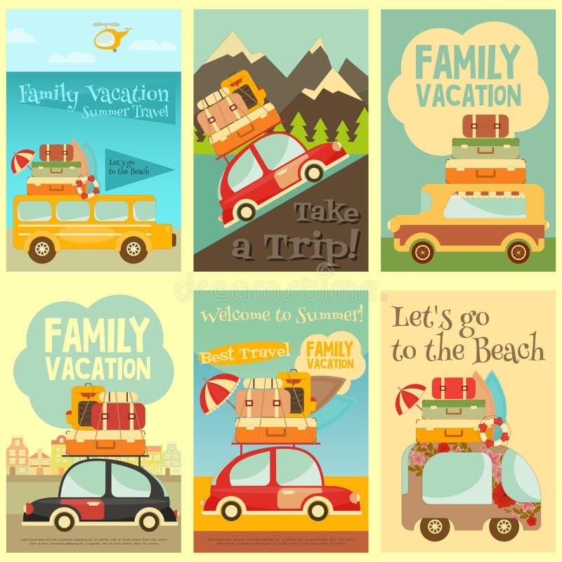Geplaatste reiskaarten stock illustratie