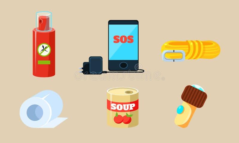 Geplaatste reispictogrammen, Noodzakelijke Levering voor Reis en het Reizen, Afweermiddel, Kabel, Toiletpapier, Ingeblikt Voedsel royalty-vrije illustratie