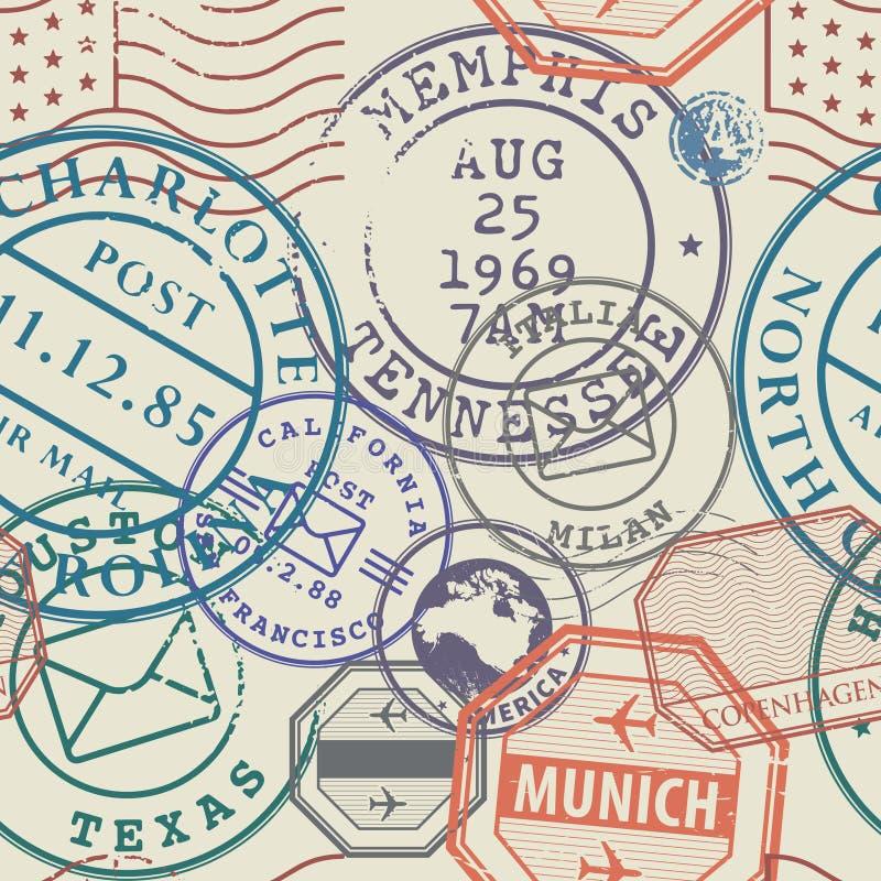 Geplaatste reiszegels of avonturensymbolen, naadloos patroon stock illustratie