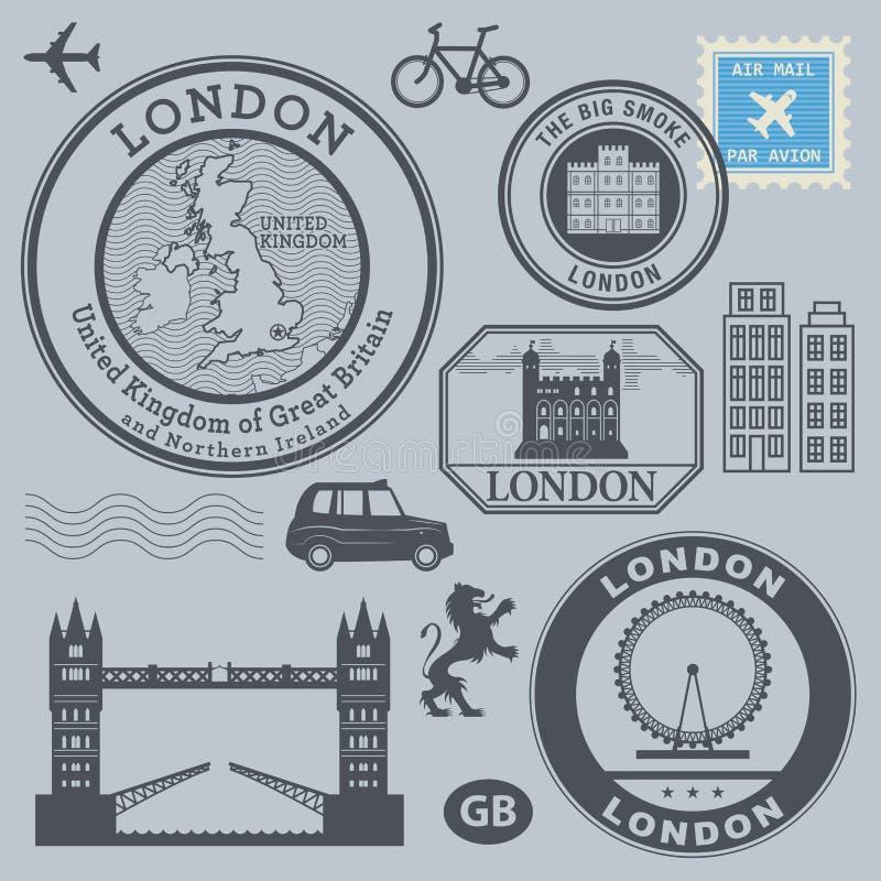 Geplaatste reiszegels, Londen royalty-vrije illustratie