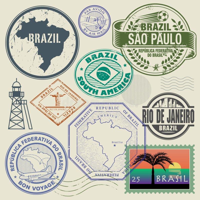 Geplaatste reiszegels of symbolen, het thema van Brazilië, Zuid-Amerika royalty-vrije illustratie