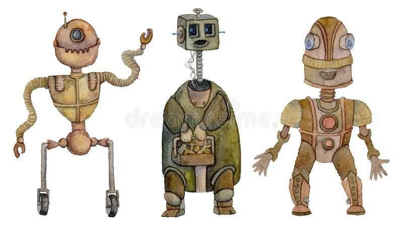 Geplaatste robots Uitstekende beeldverhaalkarakters Geïsoleerdj op witte achtergrond stock illustratie