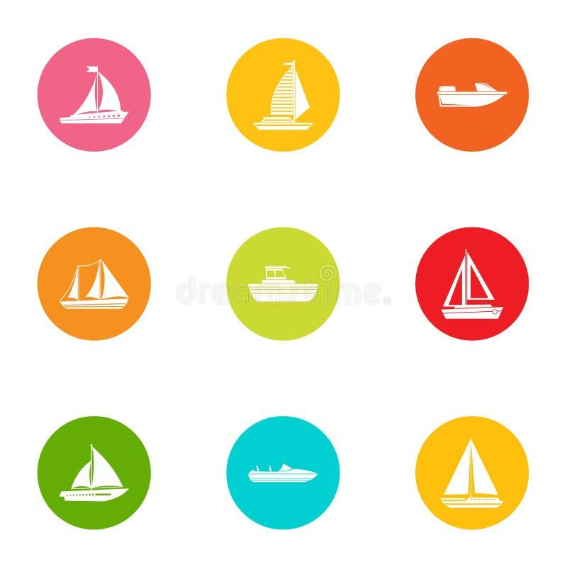 Geplaatste rubberbootpictogrammen, vlakke stijl royalty-vrije illustratie