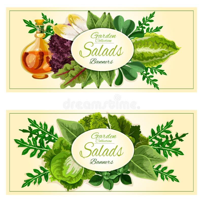 Geplaatste saladegreens en plantaardige bladerenbanners stock illustratie