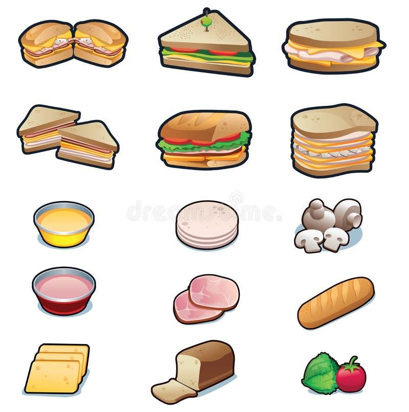 Geplaatste sandwiches en ingrediënten stock illustratie