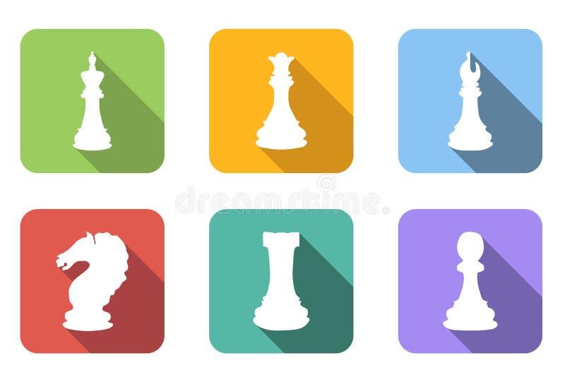 Geplaatste schaak vlakke pictogrammen stock illustratie