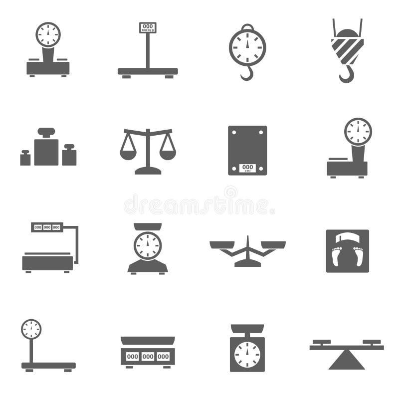 Geplaatste schalenpictogrammen stock afbeelding