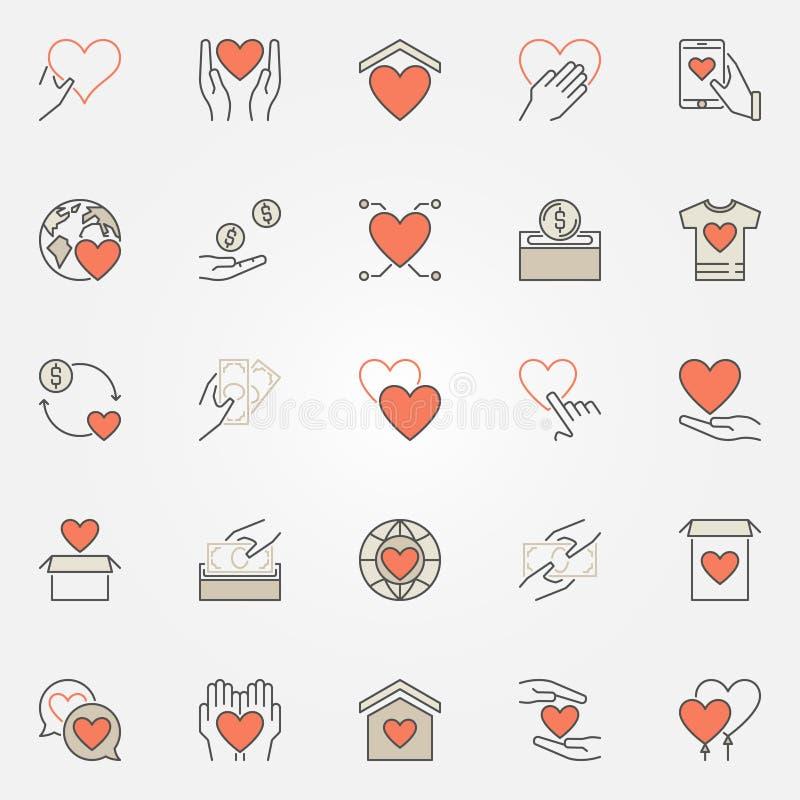 Geplaatste schenking en liefdadigheid gekleurde pictogrammen De vector schenkt symbolen royalty-vrije illustratie