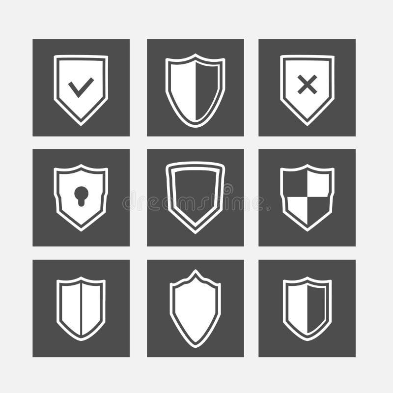 Geplaatste schild vlakke pictogrammen stock illustratie