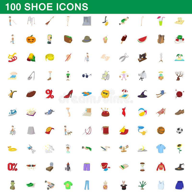 100 geplaatste schoenpictogrammen, beeldverhaalstijl vector illustratie