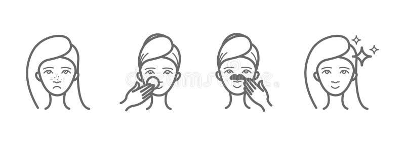 Geplaatste schoonheidspictogrammen, acnebehandeling, gezicht het schoonmaken, masker royalty-vrije illustratie