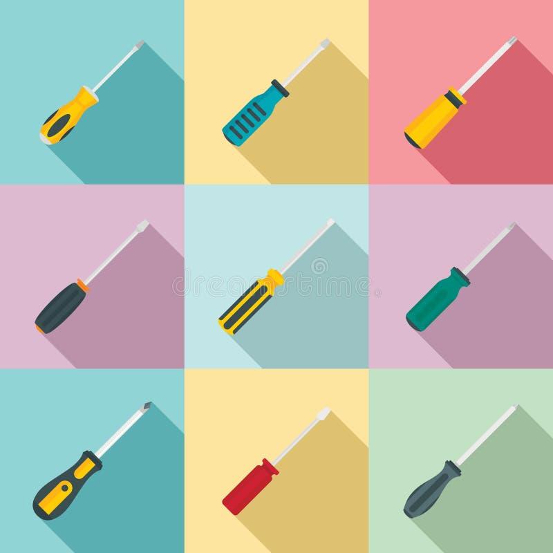 Geplaatste schroevedraaierpictogrammen, vlakke stijl vector illustratie