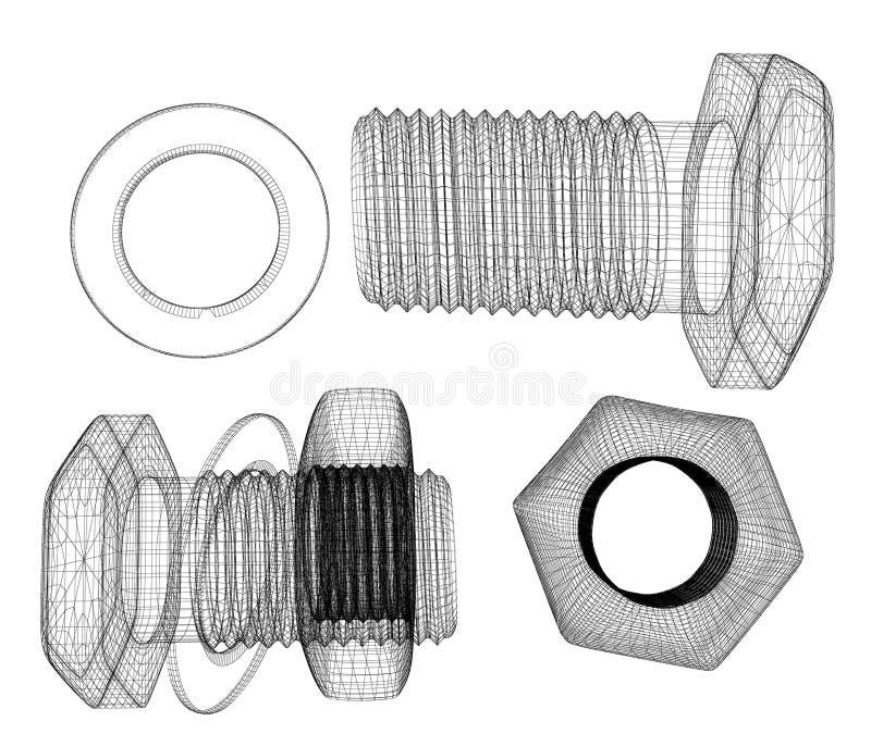 Geplaatste schroeven en noten vector illustratie