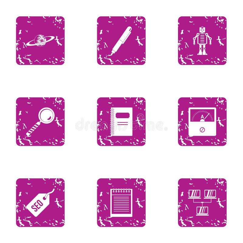 Geplaatste Seo androïde pictogrammen, grunge stijl stock illustratie