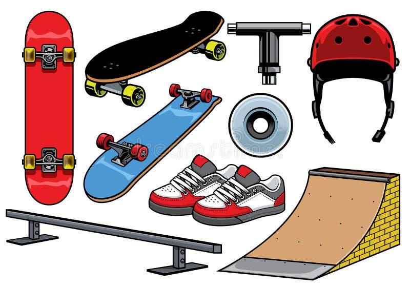 Geplaatste skateboardvoorwerpen stock illustratie