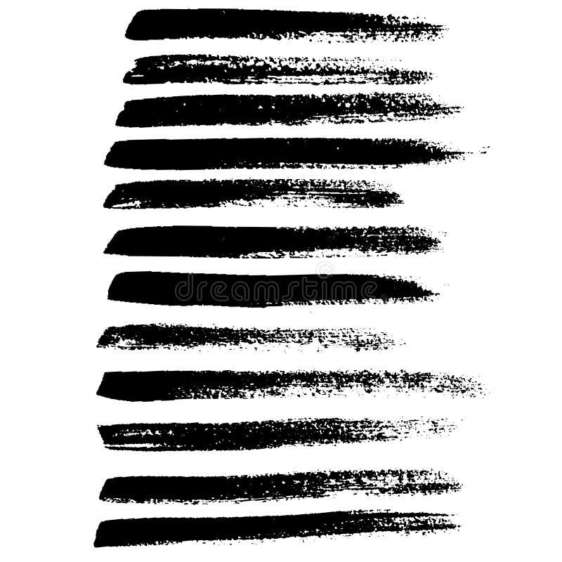 Geplaatste slagen van de inkt de vectorborstel Vector illustratie Textuur van de Grunge de hand getrokken waterverf stock illustratie