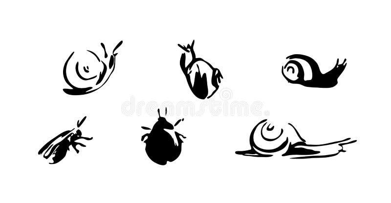 Geplaatste slakken en kevers Vectorborstelinkt die dierlijke illustratie schilderen Zwarte geïsoleerde vector op witte achtergron royalty-vrije illustratie