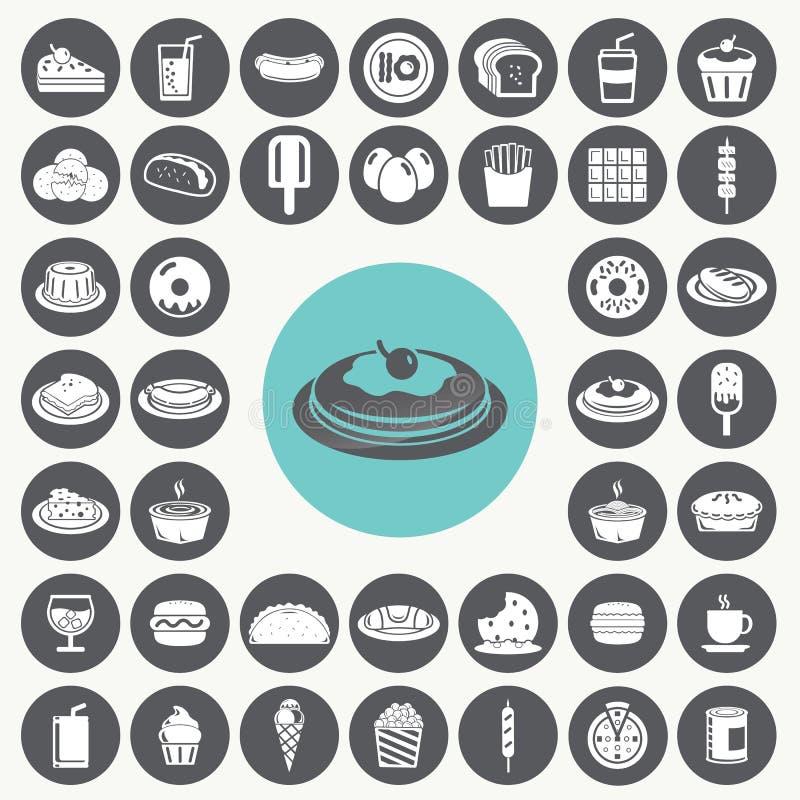 Geplaatste snackspictogrammen vector illustratie