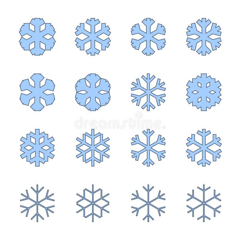 Geplaatste sneeuwvlokkentekens Blauwe die Sneeuwvlokpictogrammen op witte achtergrond worden geïsoleerd De silhouetten van de sne royalty-vrije illustratie