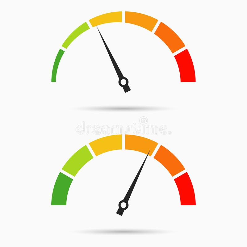 Geplaatste snelheidsmeterpictogrammen De wijzerplaatmeter van de kleurensnelheid Vlakke illustratie voor infographic Webontwerp, royalty-vrije illustratie