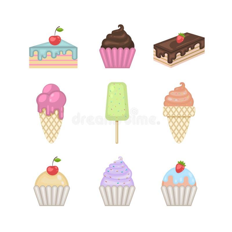Geplaatste snoepjes Vectorroomijs, cupcake, cake, pastei vector illustratie