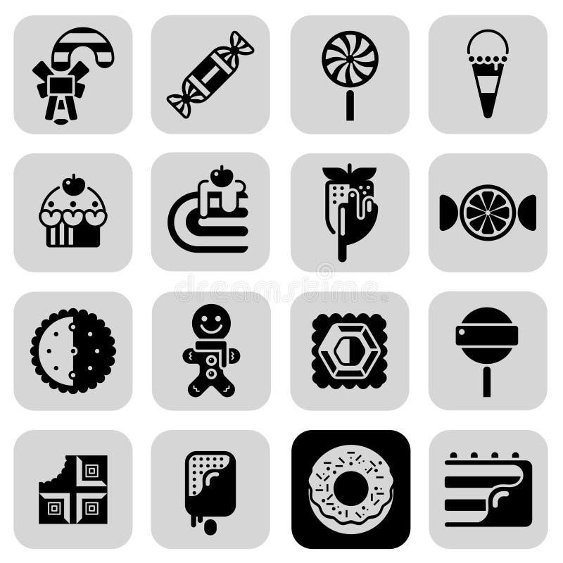 Geplaatste snoepjes Zwarte Witte Pictogrammen royalty-vrije illustratie