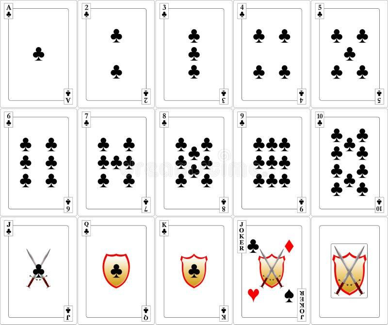 Geplaatste speelkaarten - Clubs royalty-vrije illustratie