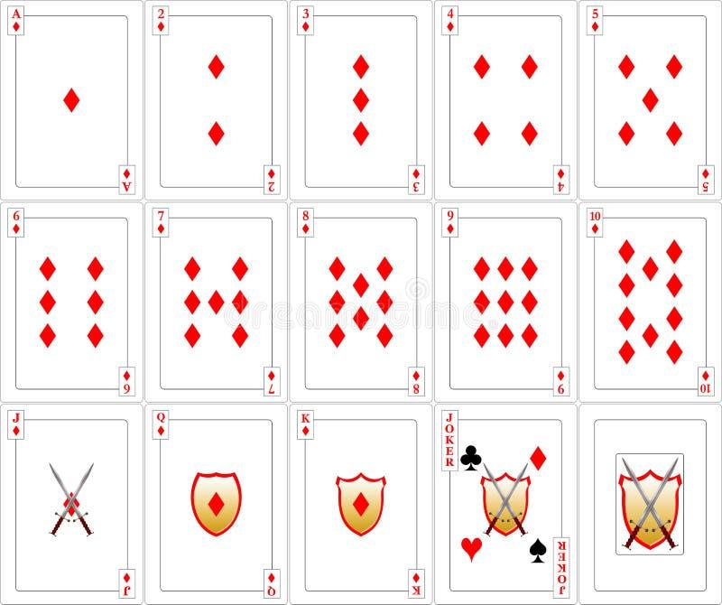Geplaatste speelkaarten - Diamanten vector illustratie