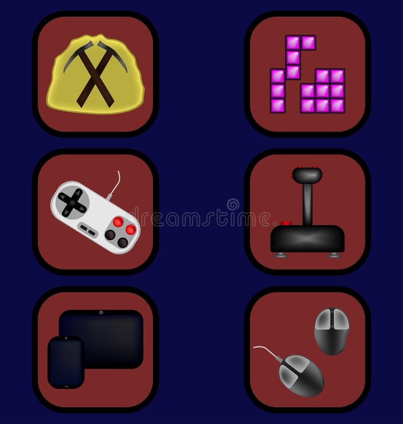 Geplaatste spelpictogrammen stock illustratie