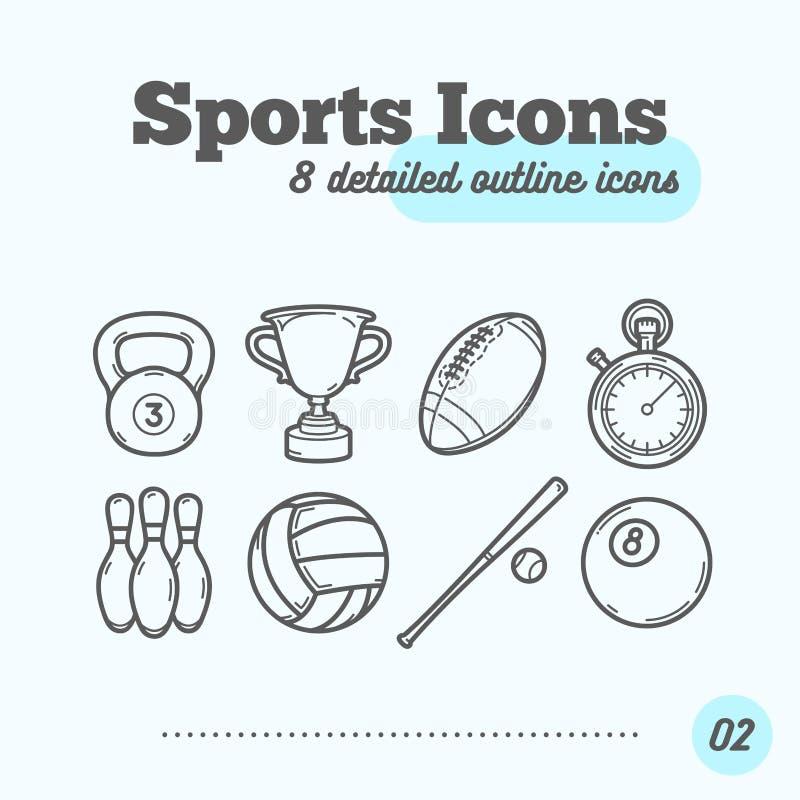 Geplaatste sportenpictogrammen (Kettlebell, Trofee, Voetbal, Tijdopnemer, Kegels, Volleyball, Honkbal, Biljartbal) royalty-vrije illustratie