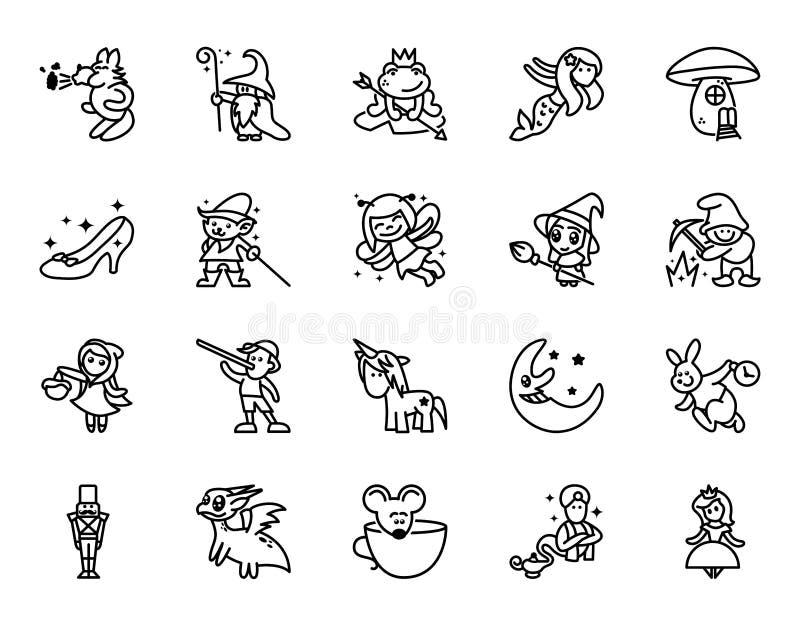 Geplaatste sprookjespictogrammen De reeks van Fantasie bracht Vectorlijnpictogrammen met elkaar in verband Reeks van 20 minimale  royalty-vrije illustratie