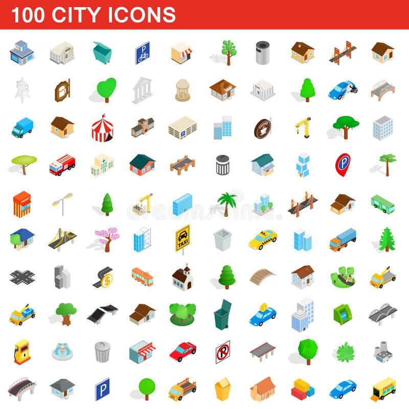 100 geplaatste stadspictogrammen, isometrische 3d stijl vector illustratie