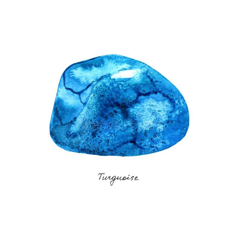Geplaatste stenen van de waterverf de turkooise gem Hand getrokken mineralen op witte achtergrond royalty-vrije illustratie