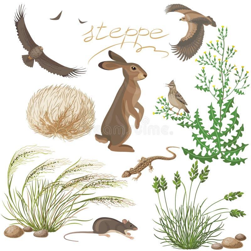 Geplaatste steppeplanten en dieren stock illustratie