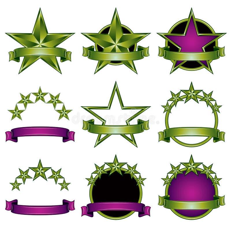 5 geplaatste sterren klassieke emblemen stock illustratie