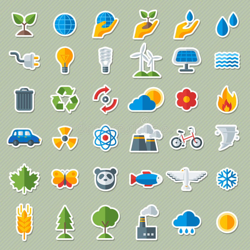 Geplaatste Stickers van ecologie de Vlakke Pictogrammen royalty-vrije illustratie