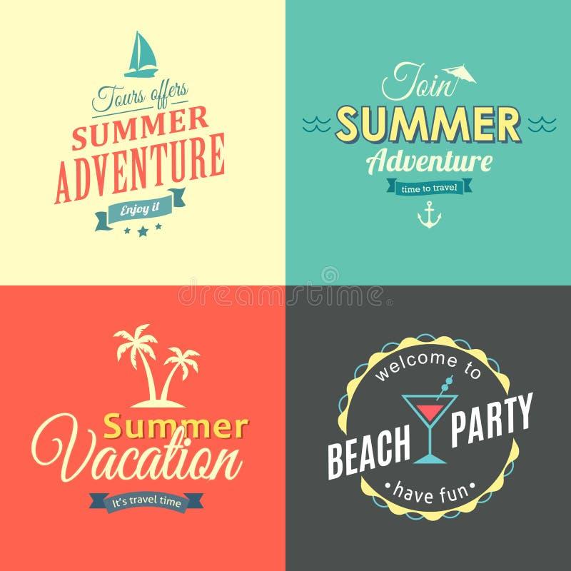 Geplaatste strand kleurrijke etiketten vector illustratie