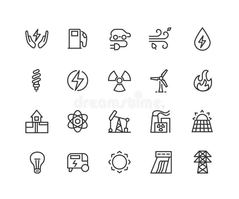 Geplaatste stroom lineaire pictogrammen elektriciteit Machtsgeneratie en accumulatie De dunne symbolen van de lijncontour Geïsole stock illustratie