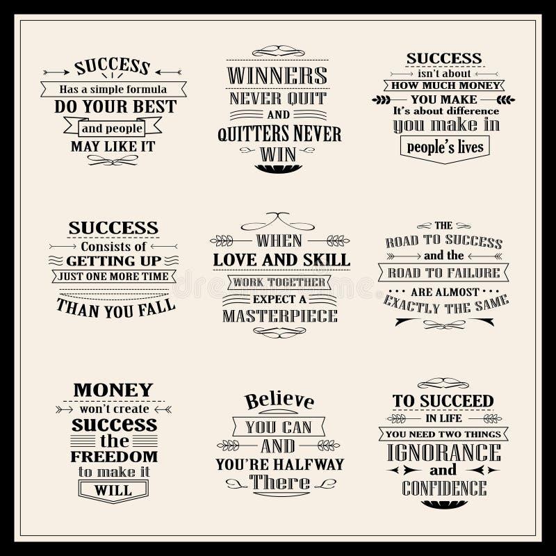 Geplaatste succes motieven en inspirational citaten royalty-vrije illustratie