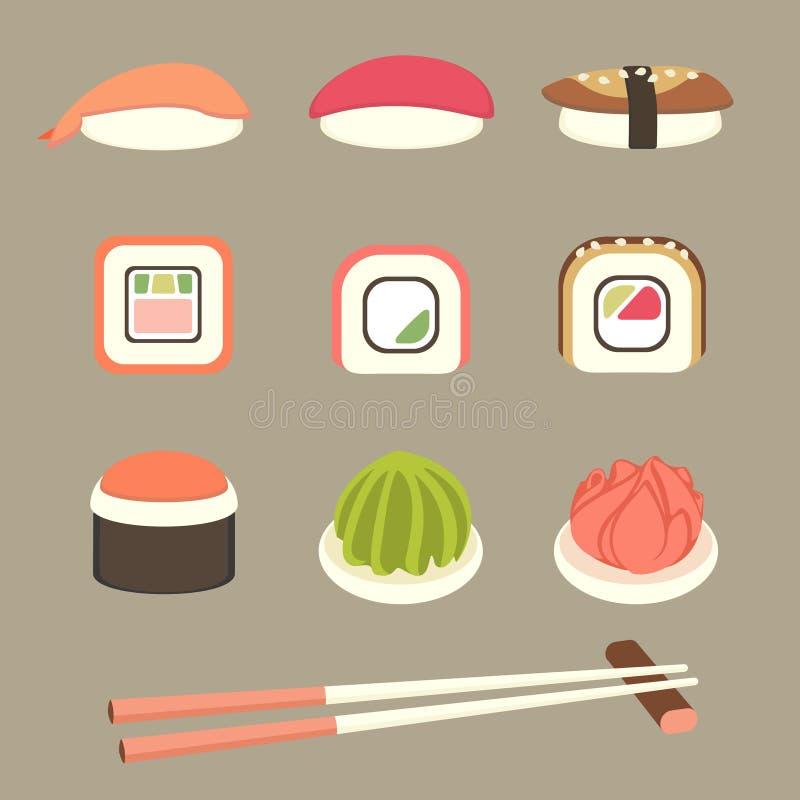 Geplaatste sushi en broodjes stock illustratie