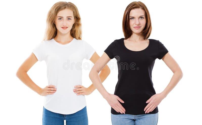 Geplaatste t-shirt: twee mooie vrouwen in witte en zwarte t-shirtspot omhoog, vrouw in lege t-shirt De collage van de meisjest-sh royalty-vrije stock foto