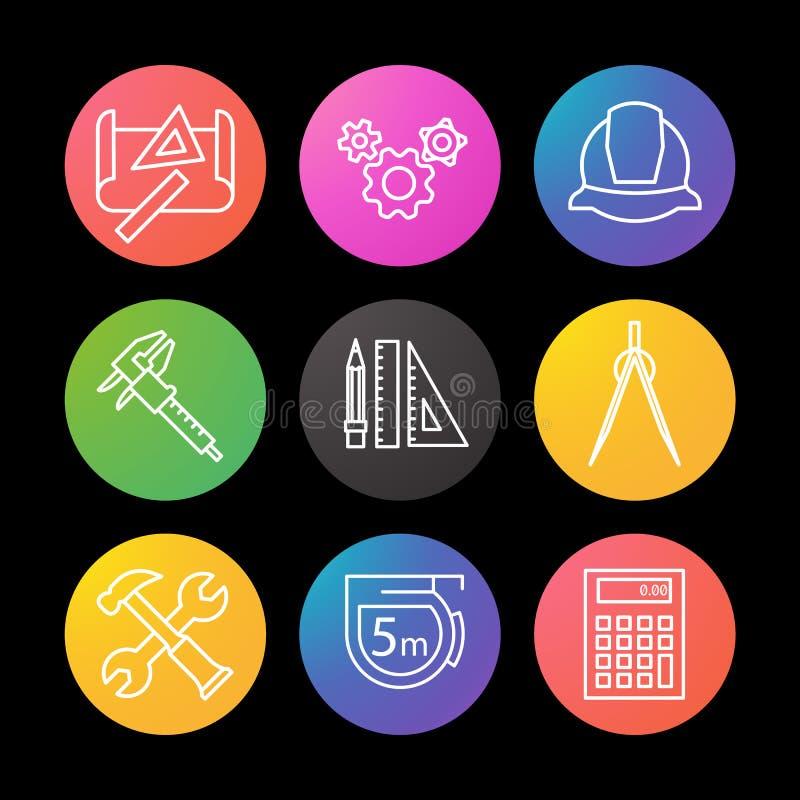 Geplaatste techniek lineaire pictogrammen Tekening, toestellen, helm, beugel, verdeler, hamer en moersleutel, die band, calculato stock illustratie