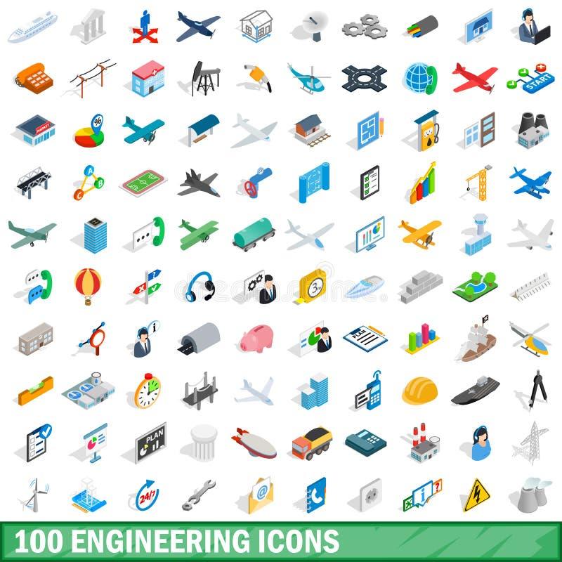 100 geplaatste techniekpictogrammen, isometrische 3d stijl vector illustratie