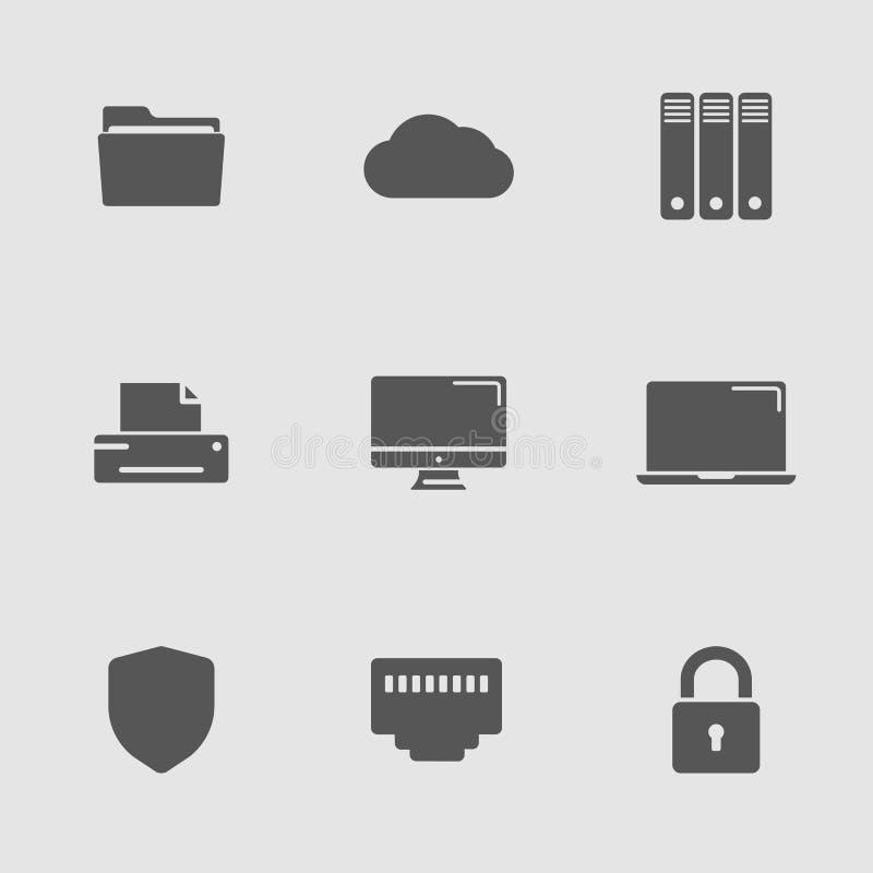 Geplaatste technologiepictogrammen stock illustratie