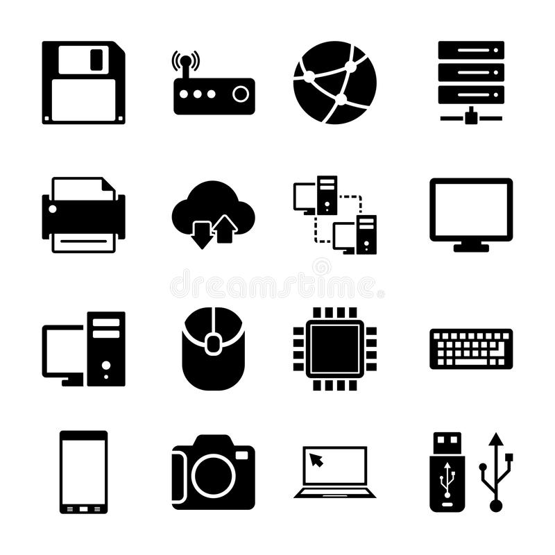 Geplaatste technologiepictogrammen royalty-vrije illustratie